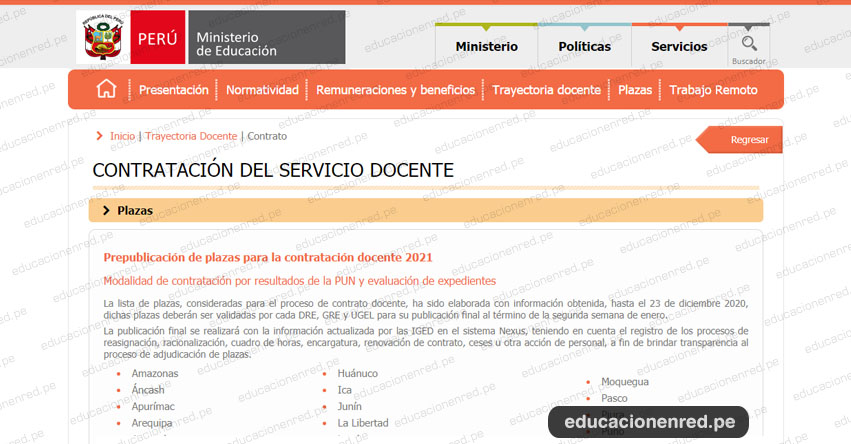 MINEDU: Prepublicación de Plazas Vacantes para Contratación Docente 2021 (Actualizado 30 Diciembre) www.minedu.gob.pe