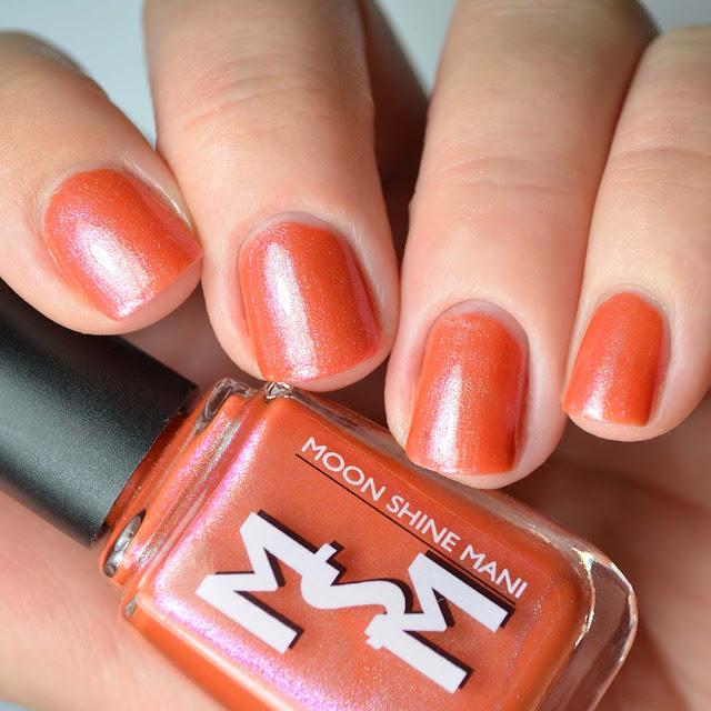 tangerine shimmer nail polish swatch