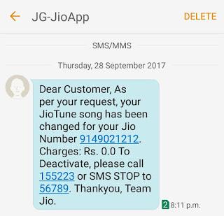 JioTune activation message