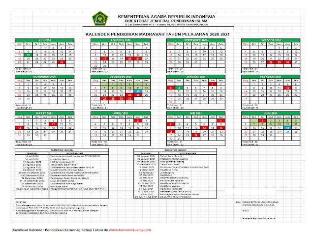 kalender pendidikan kemenag tahun pelajaran 2020/2021; kalender pendidikan madrasah tahun pelajaran 2020/2021; tomatalikuang.com