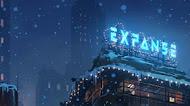 City winter digital art mobile wallpaper, snow, people