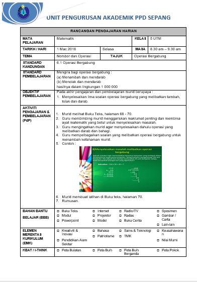 Free Download Contoh Rph Matematik Untuk Pdpc Pak 21 Mykssr Com