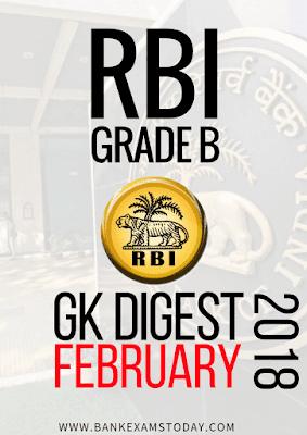 RBI Grade B GK Digest - February 2018