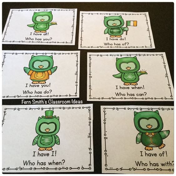 I Have, Who Has? Cards for St. Patrick's Day Sight Word Fun. Fern Smith's Classroom Ideas.