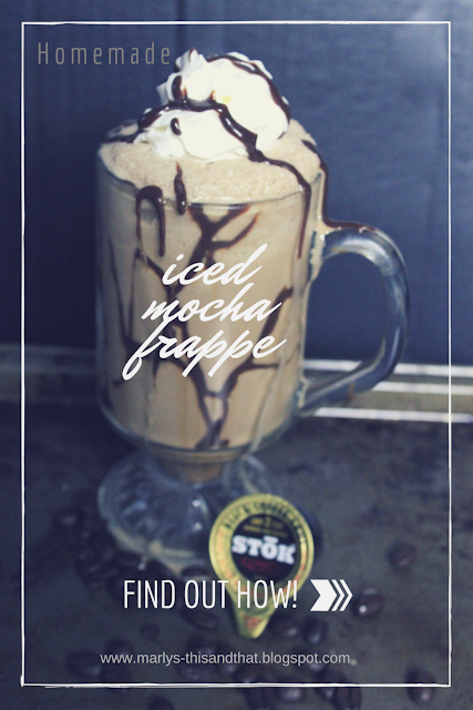 Using chocolate and coffee to make your frappe at home much cheaper than buying at a coffee shop.