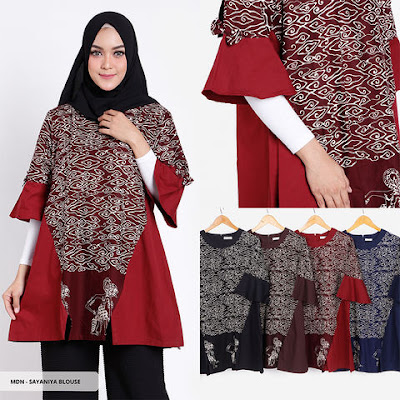 dress tunik batik, dress muslim batik, blouse muslim batik