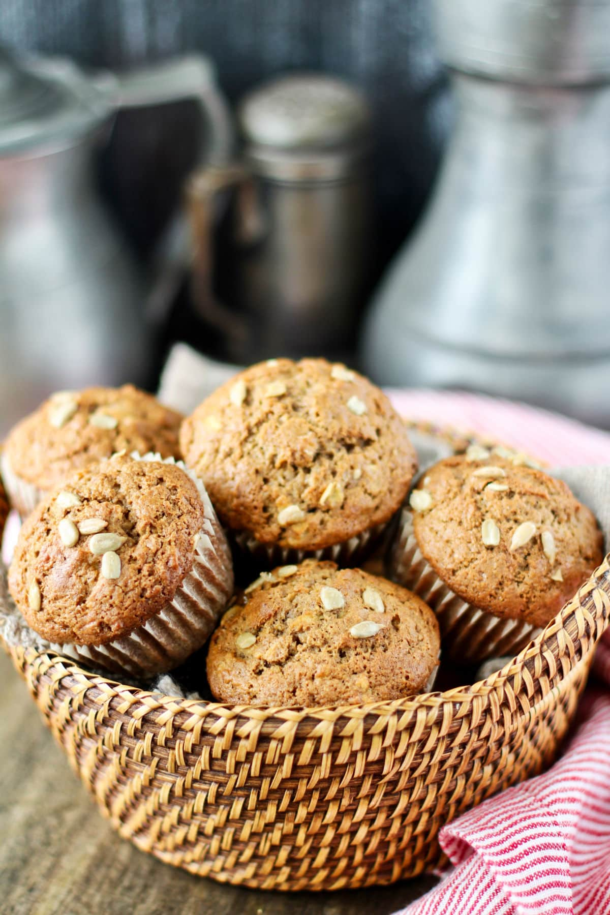 Whole Wheat and Sunflower Seed Muffins in a basket.