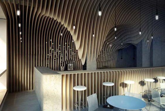 Bar restauracja z listewek lamelek 3d architektura wnętrz