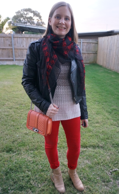leather jacket ombre knit jumper with red skinny jeans ankle boots skull scarf love bag night out | away from blue