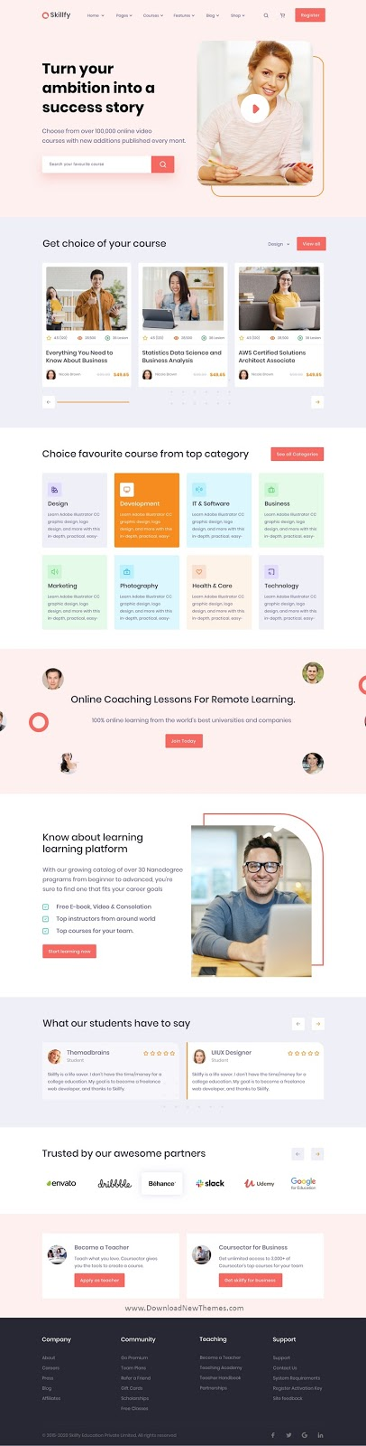Learning Management System Adobe XD Template