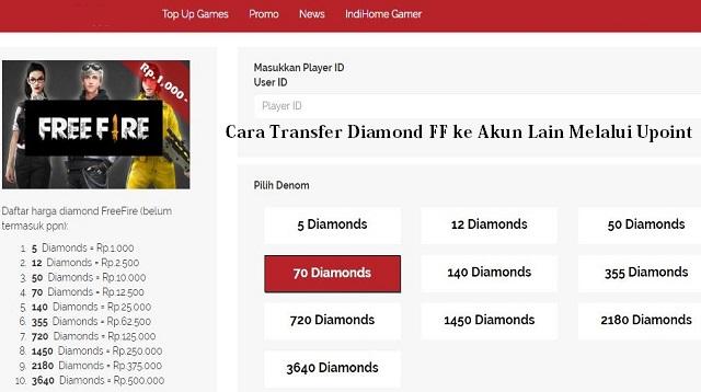 Cara Transfer Diamond FF ke Akun Lain Melalui Via Upoint