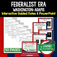Federalist Era, American History Guided Notes, American History Interactive Notebook, Google and Print, American History Note Taking, American History PowerPoints, American History Anticipatory Guides