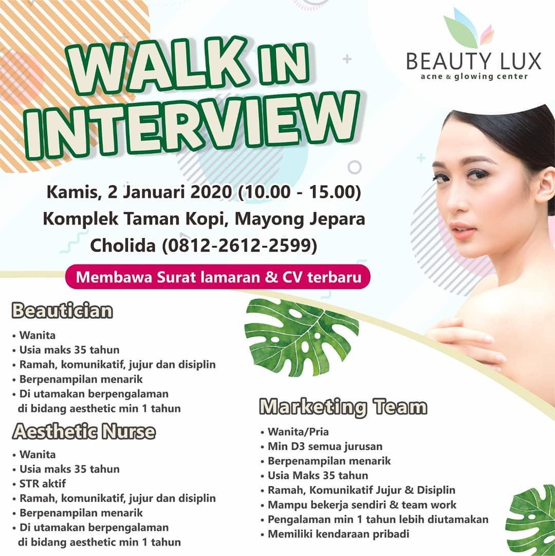 Info Lowongan Kerja Jepara Walk In Interview Untuk Posisi Beautician, Aesthetic Nurse, Marketing Team di Beauty Lux Jepara