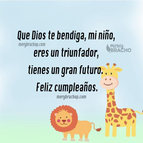 imagen leon y jirafa con frases cumpleaños para niño animales fondo bendiciones para mi hijo merybracho