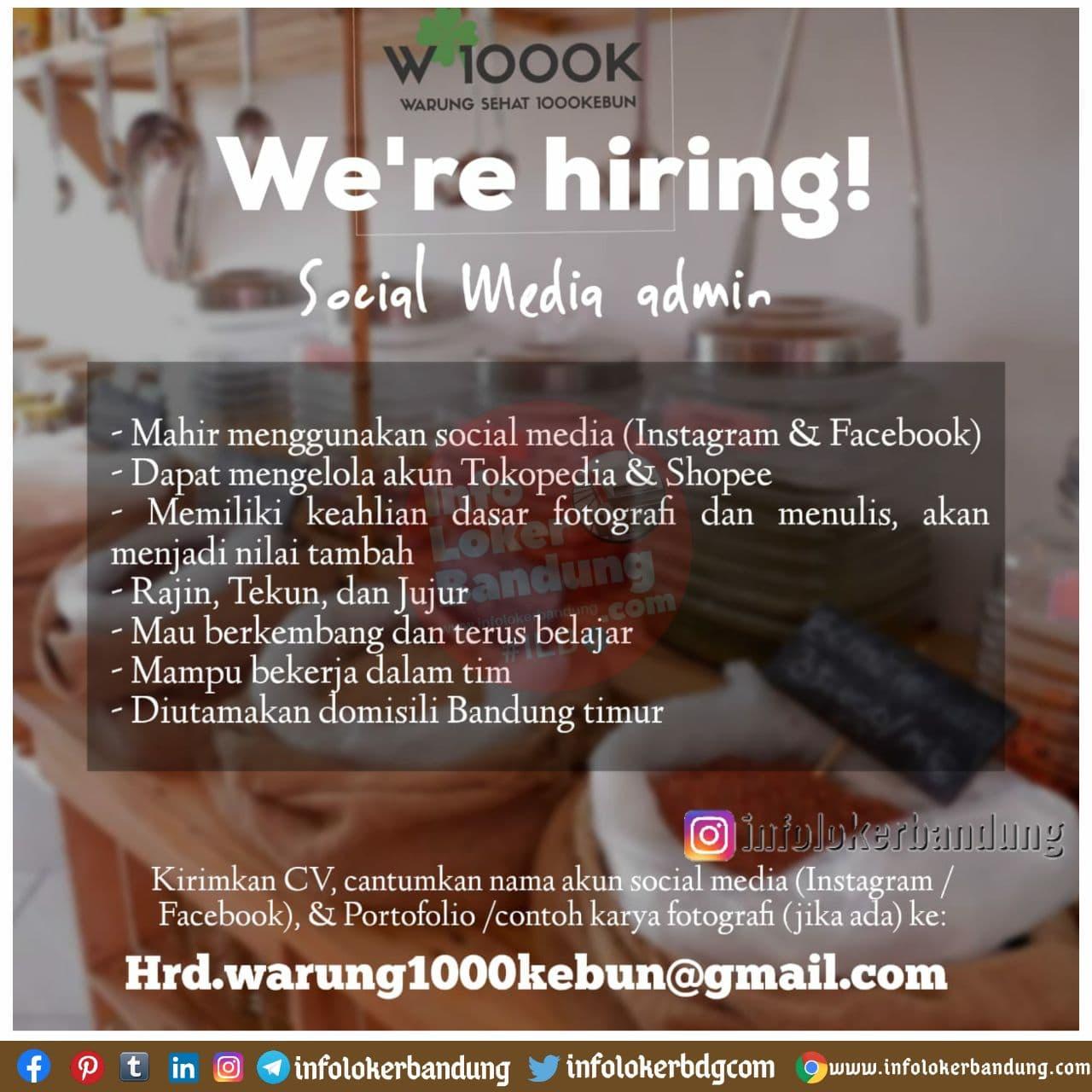 Lowongan Kerja Social Media Admin Warung 1000 Kebun Bandung Desember 2020