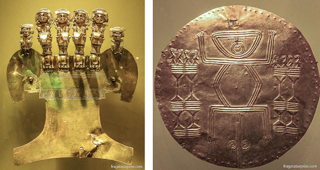 Adornos das culturas Tairona e Quimbayá no Museu do Ouro de Bogotá