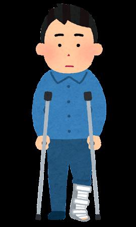 装具と松葉杖を使う人のイラスト(男性)