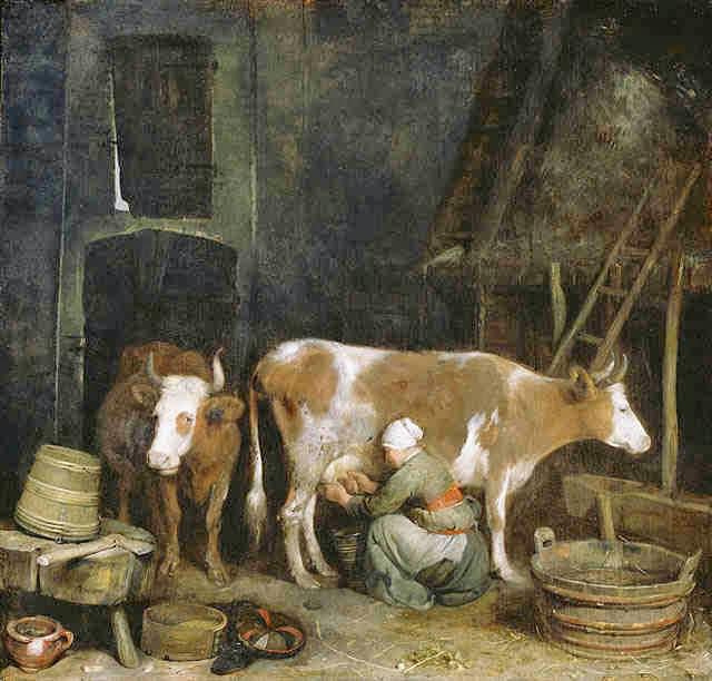 Empregada Doméstica Tirando Leite da Vaca - Gerard Terborch ~ Pintor Barroco ~ Holandês