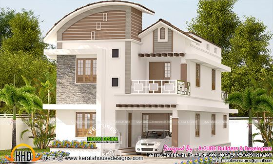 Curved roof mix 4 bedroom house