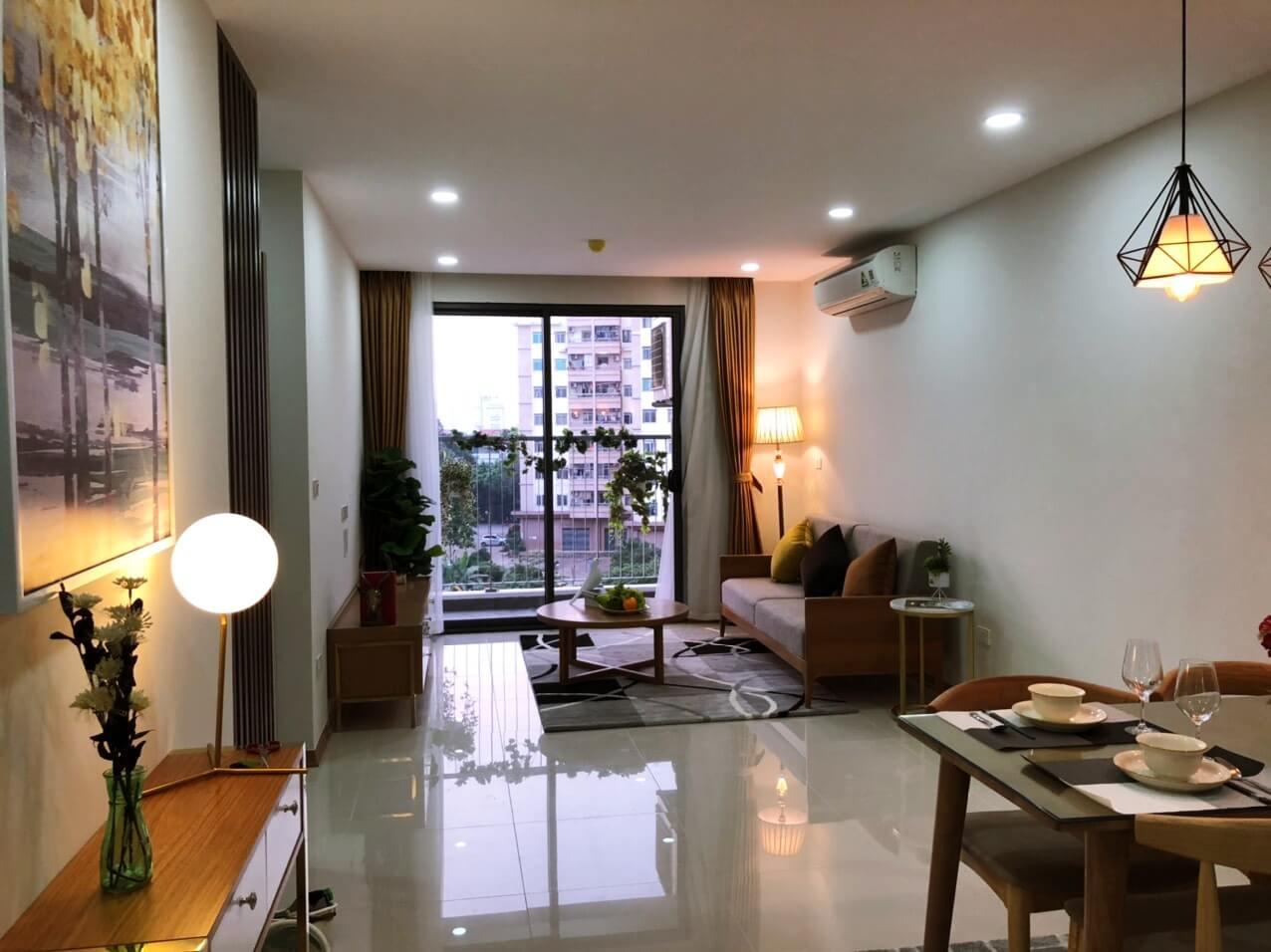 Phòng khách căn hộ mẫu Xuân Mai Rose Town
