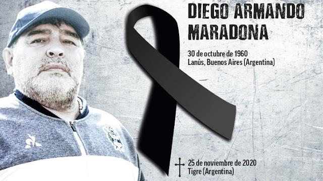 EL FUTBOL MUNDIAL ESTA DE LUTO....FALLECIÓ DIEGO ARMANDO MARADONA