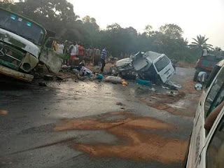 All Passengers K!lled As Tipper Lorry Rams Into Bus In Enugu