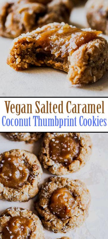 The Best #Vegan Salted #Caramel #Coconut #Thumbprint #Cookies #recipe