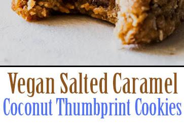 The Best Vegan Salted Caramel Coconut Thumbprint Cookies
