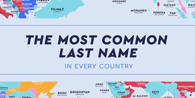 Conoce el mapa que muestra los apellidos más comunes en cada país del mundo
