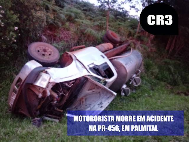 Palmital: Motorista de caminhão de leite morre em acidente na tarde de domingo
