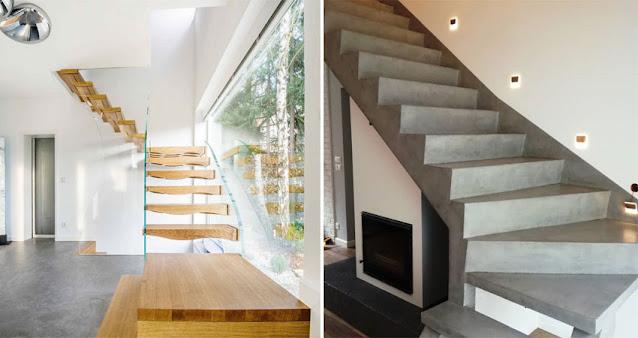 Tangga kayu jati dan tangga beton