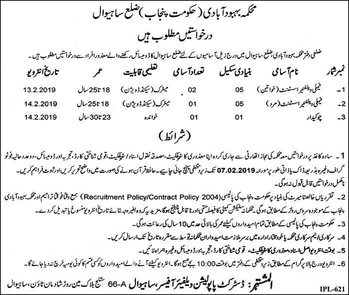 Jobs Vacancies In Population Welfare Department District Sahiwal 24 January 2019