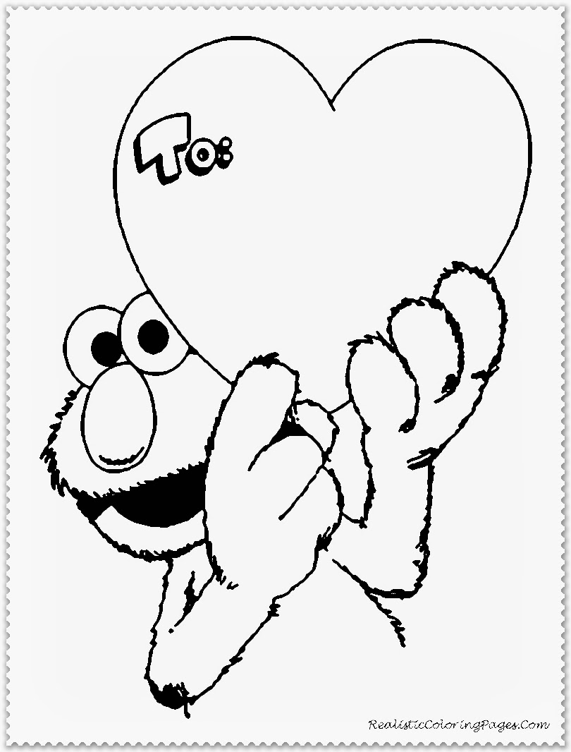 Elmo Happy Valentine Day Coloring Pages