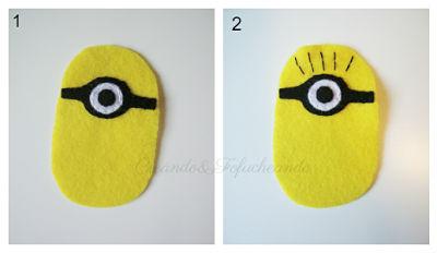 cosemos las gafas y el pelo del Minion disfrazado de Momia en Fieltro