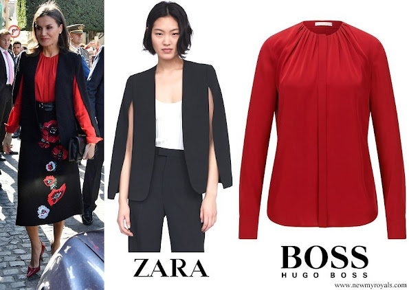Queen Letizia wore Zara cape style jacket and Hugo Boss Banora Gathered Silk Blouse