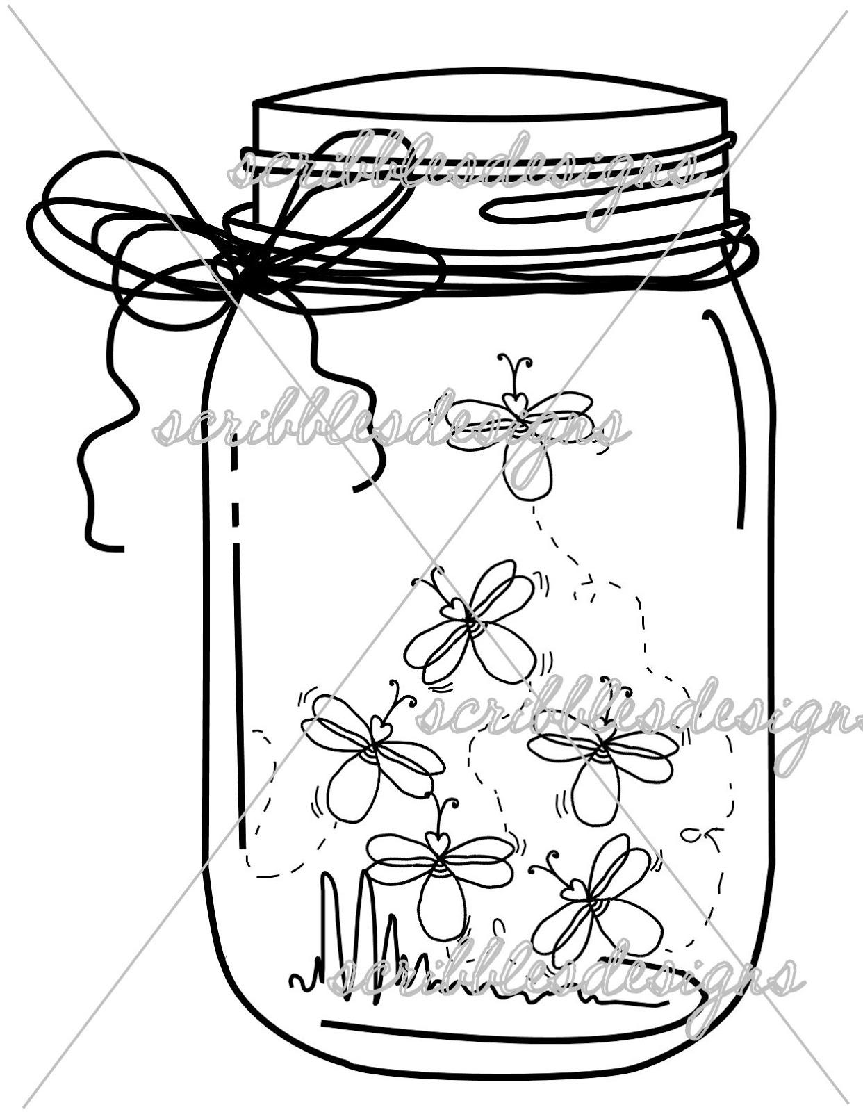 mason jar coloring page - scribbles designs 8102 firefly mason jar