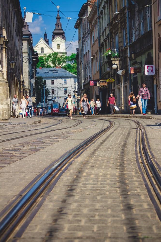 Lviv in the summer Ukraine tram