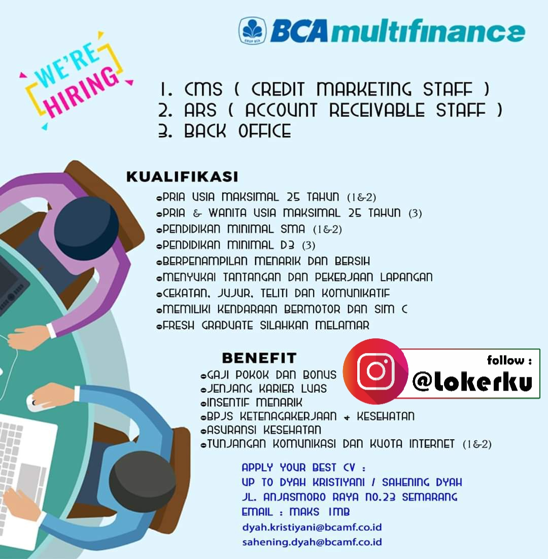 Info Loker Semarang Sebagai Credit Marketing Staff, Account Receivable Staff, Back Office BCA Multifinance Semarang