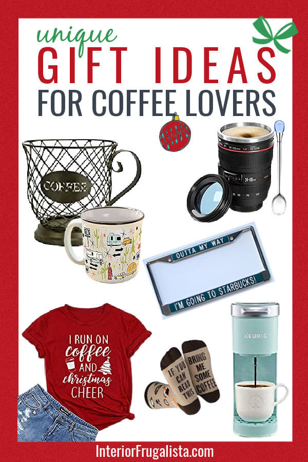 Get a head start on your Christmas shopping with these twelve unique gift ideas for the Coffee Lover on your list. A convenient holiday gift guide by Interior Frugalista. #holidaygiftguide #coffeelovergiftideas #festivechristmasideas