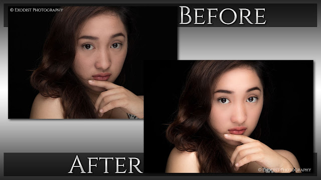 Clamshell Lighting Beauty Portrait Retouching - Before & After - © Exodist Photography, All Rights Reserved