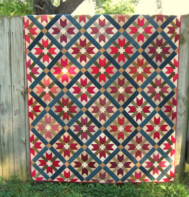 Red Wings and Stars scrappy quilt
