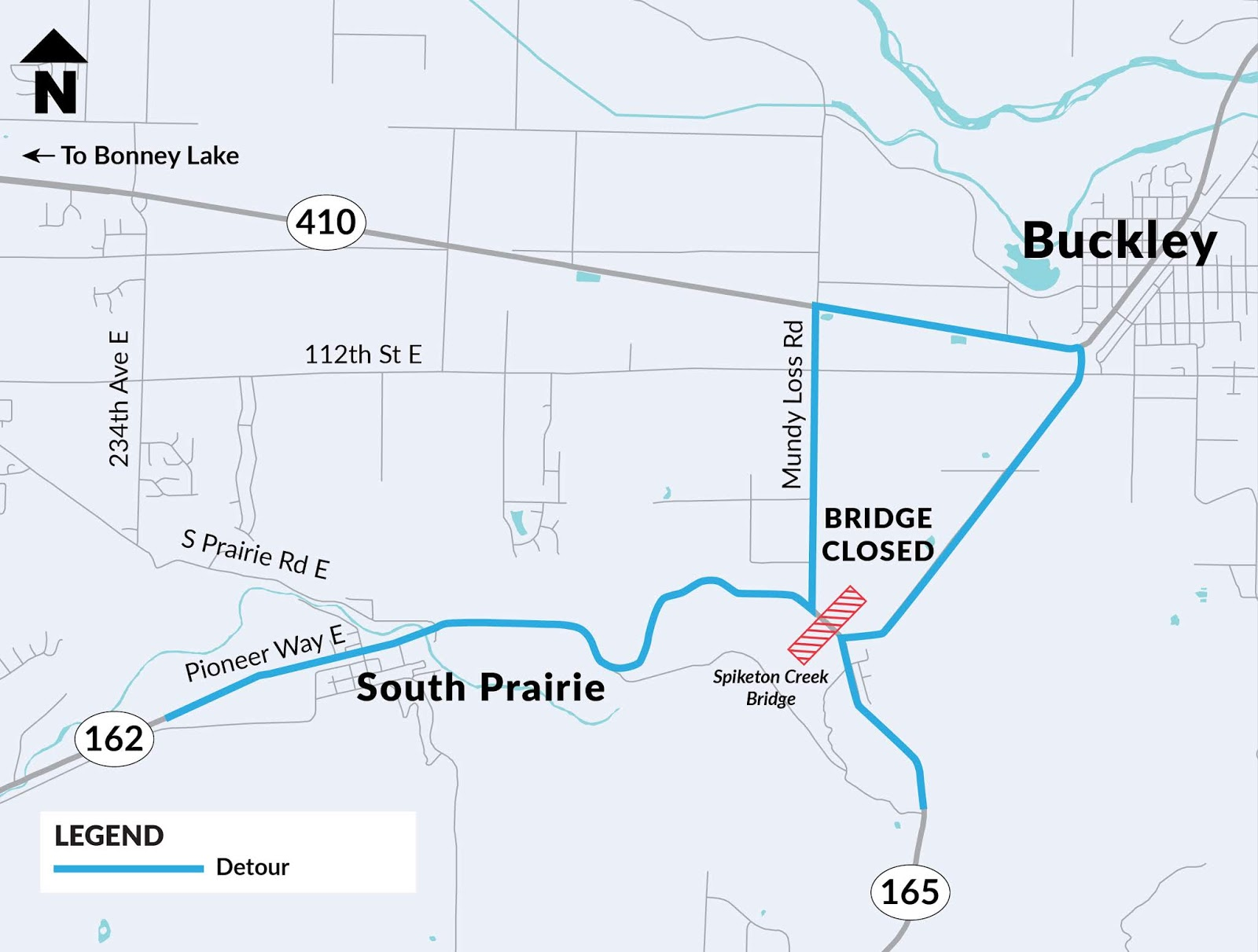 a look at the detour during the spiketon creek bridge closure