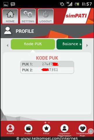 Menu PUK pada aplikasi MyTelkomsel