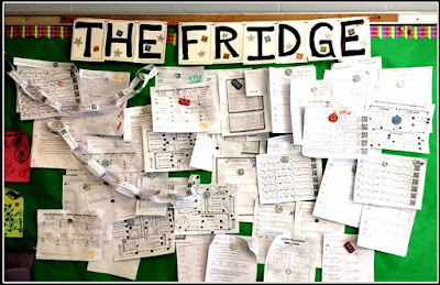 The Fridge bulletin board for student papers