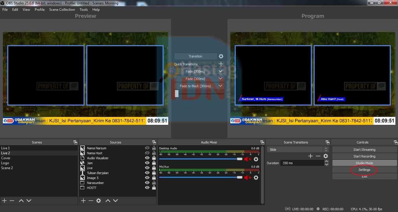 Pengaturan Live OBS Studio