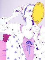 Nana Osaki applying mascara handheld mirror