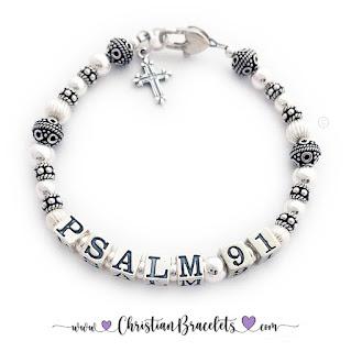 .925 sterling silver Psalm Bracelet - Any Psalm - Psalm 91 Shown