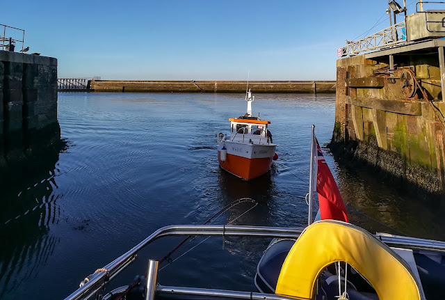 Photo of Ravensdale towing Freebird in through the marina gate