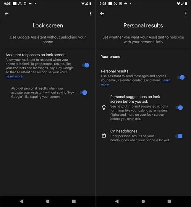 Googleassistant Lockpersonalsettings