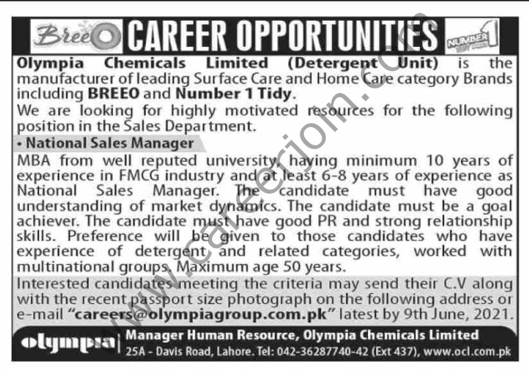 careers@olympiagroup.com.pk - Olympia Chemicals Ltd Jobs 2021 in Pakistan